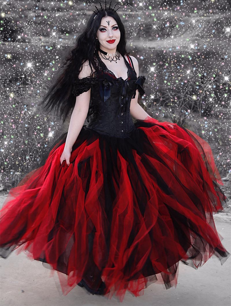 Black And Red Off The Shoulder Gothic Victorian Prom Gowns Red Corset Dress Bridesmaid Dresses With Sleeves Red Bridesmaid Dresses [ 1062 x 800 Pixel ]