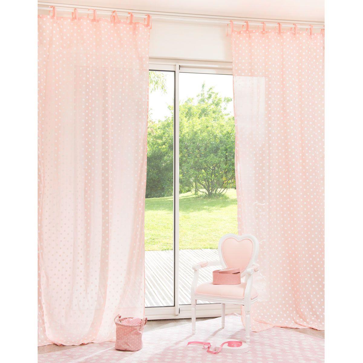 chambre emma maison du monde rideau enfant pois rose