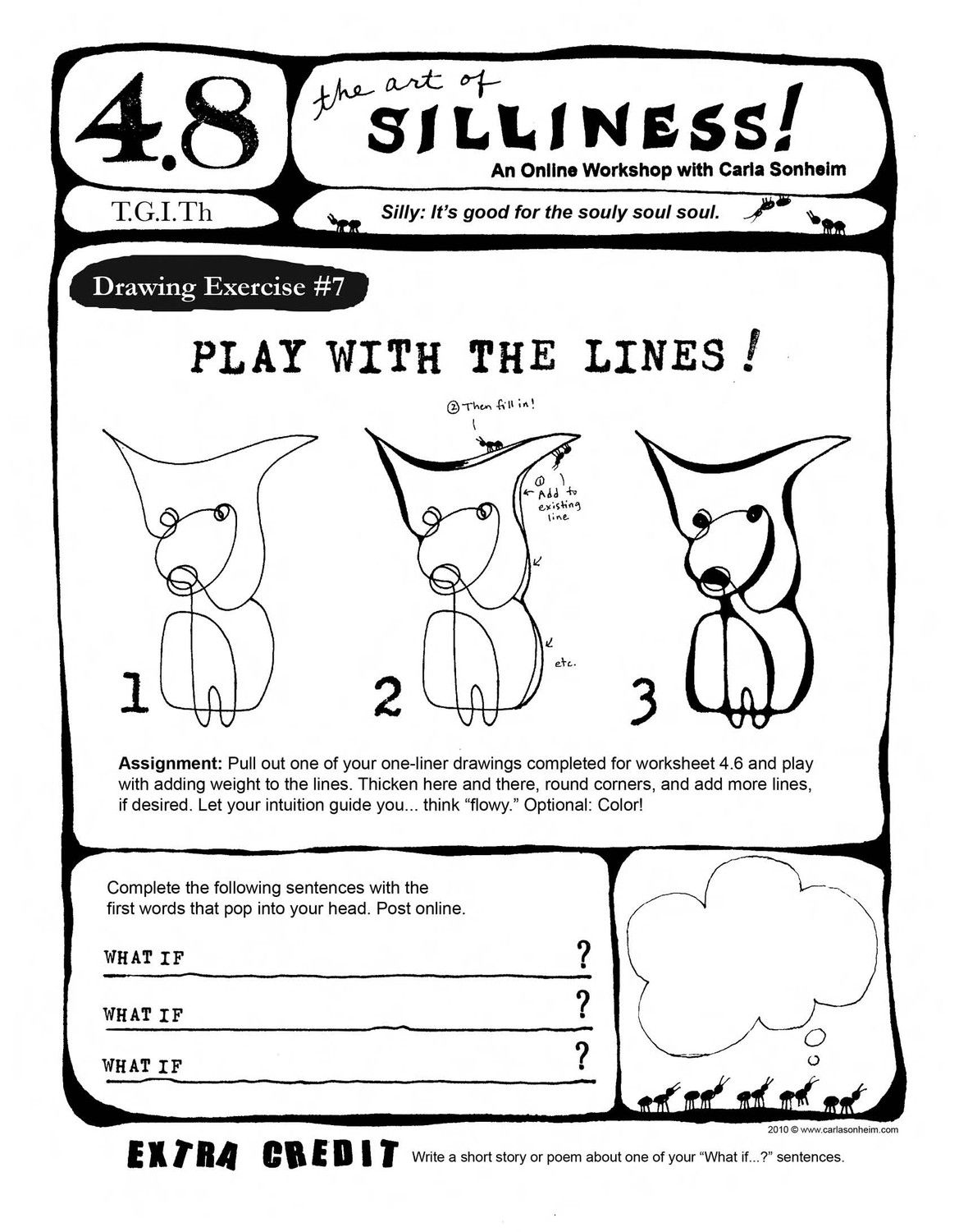 Online Class 30 Silly Drawing Worksheets By