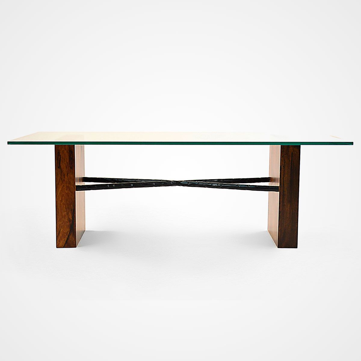Mindful Living Solid Wood Coffee Table with Chevron Pattern and Midcentury Modern Legs