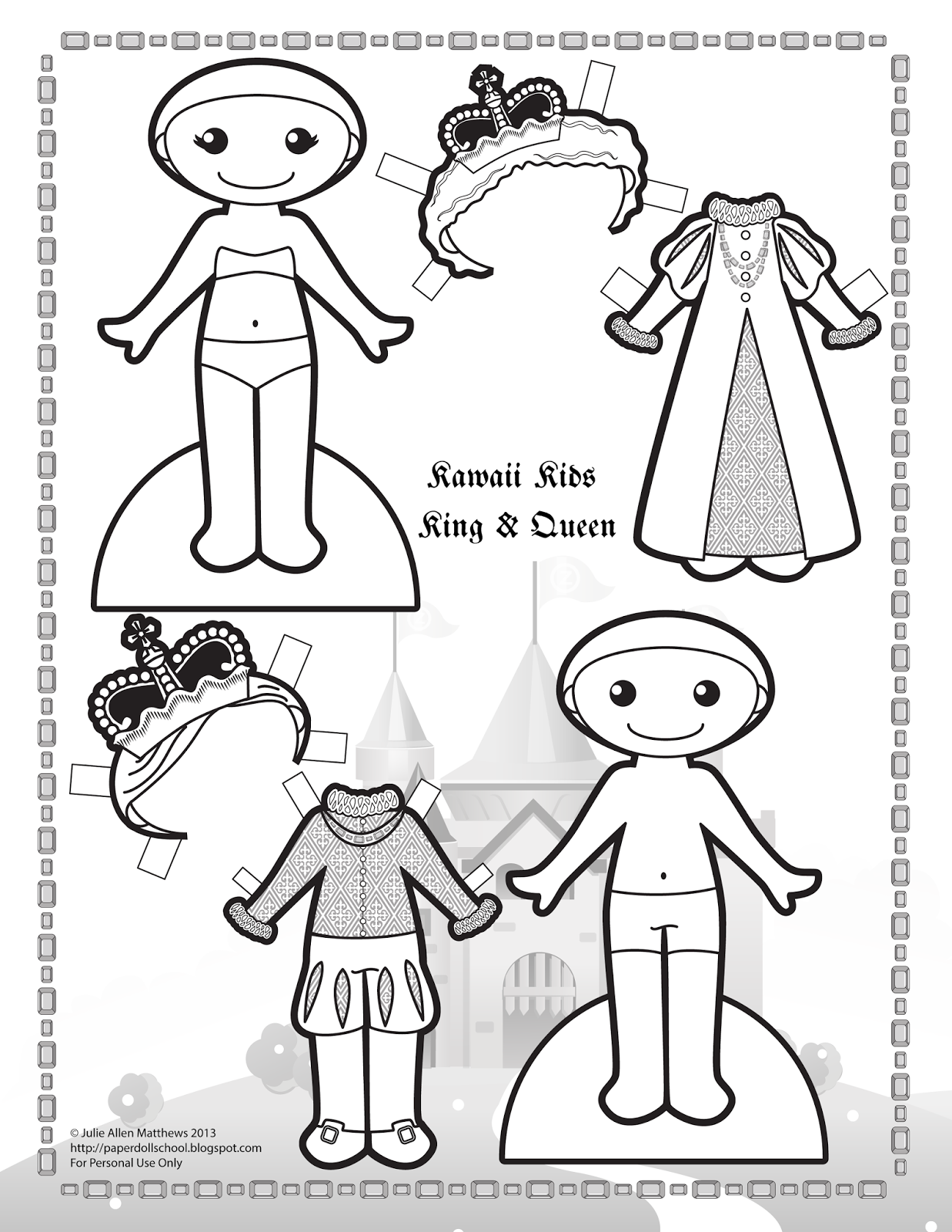 Black and white Kawaii Kids King and Queen paper doll to color ...