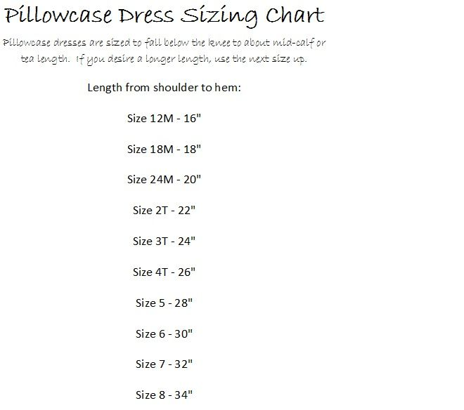 Size Chart for Pillowcase Dress pattern.   Sewing and Crafts I ...