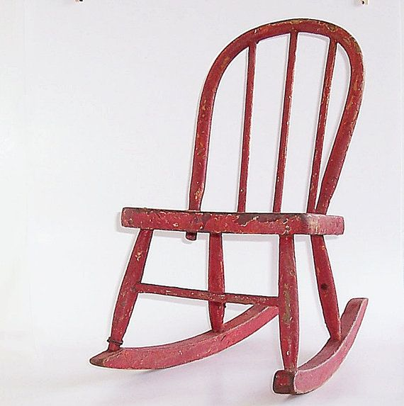 Fantastic Vintage Childs Rocking Chair Cherry Red Bow Back Ncnpc Chair Design For Home Ncnpcorg