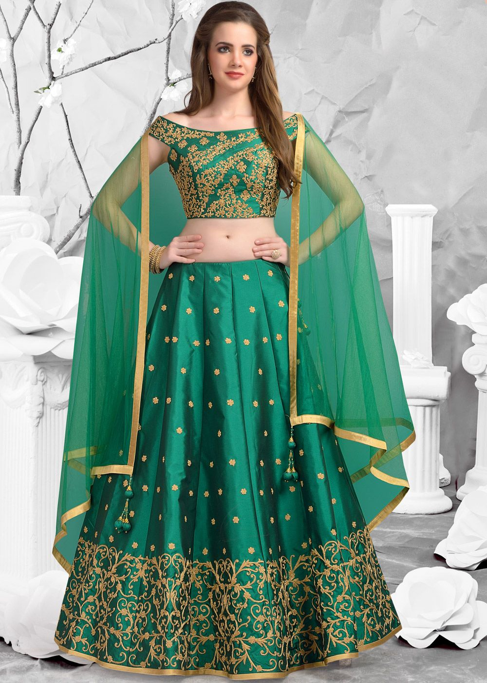 4820699c3b Wedding Royale: Buy Stylish Indian Wedding Dresses Online USA. February  2019. Wear this green dupion silk lehenga choli ...