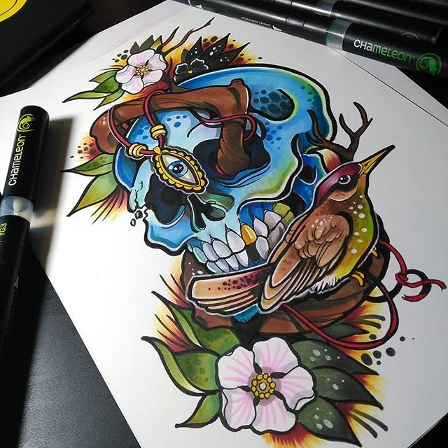 Chameleon Arts Tattoo Flash: @candela_pajaro_tattoo Their Stunningblue Skull Surrounded