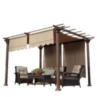 Belham Living Steel Outdoor Pergola Gazebo With Retractable Canopy
