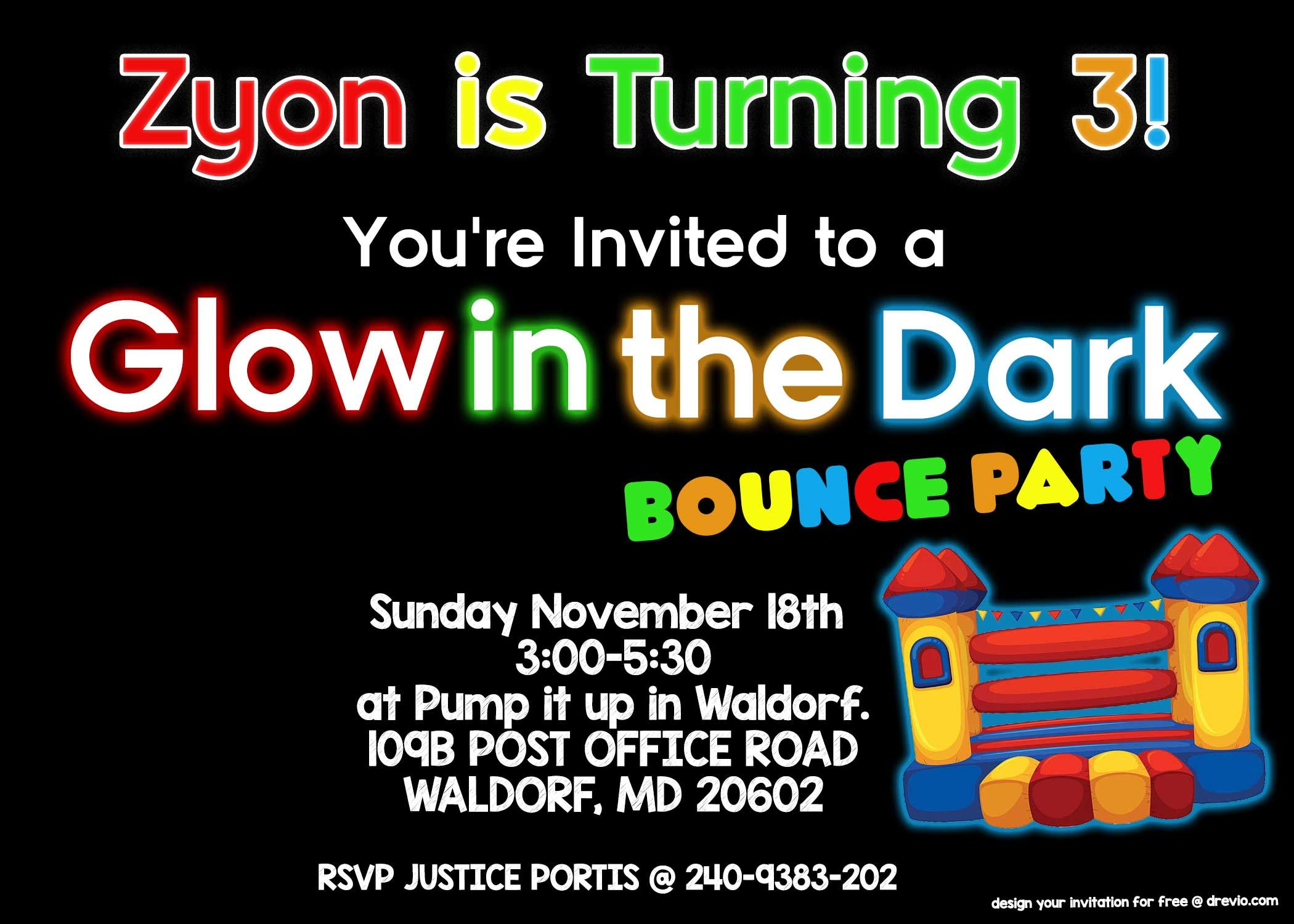 FREE Printable Glow In The Dark Bounce Party Invitation Template