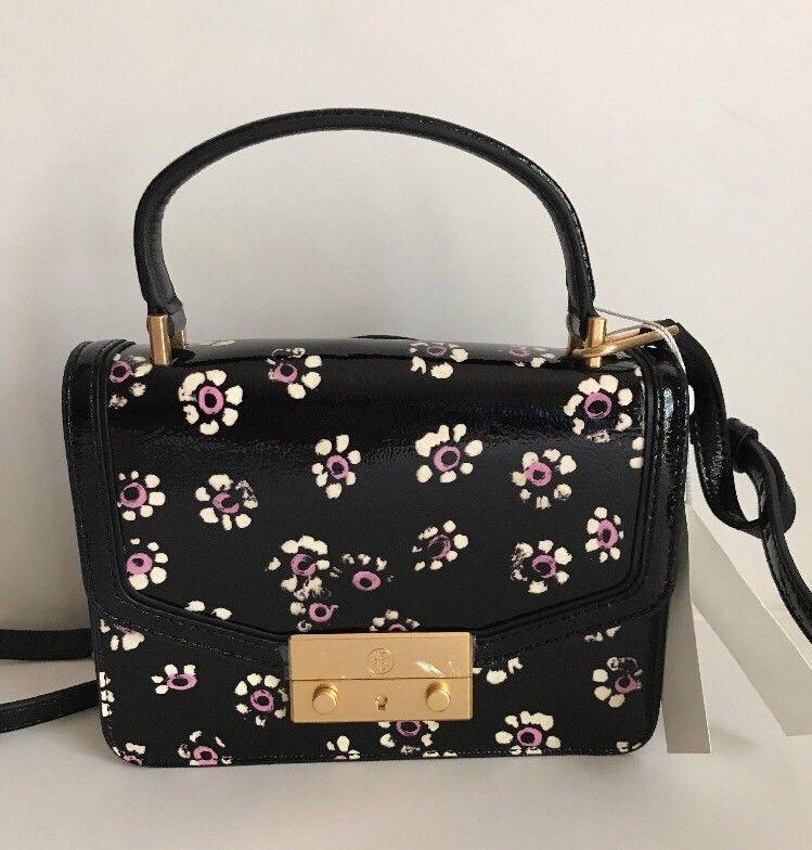 62865db21129 Tory Burch Juliette Printed Mini Patent Leather Crossbody Black Floral  448
