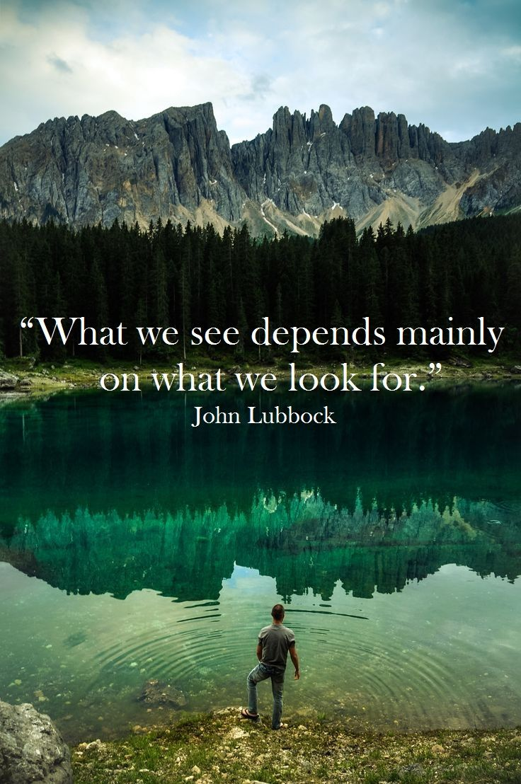 "View Quotes What We See Depends Mainly On What We Look For.""  John Lubbock ."