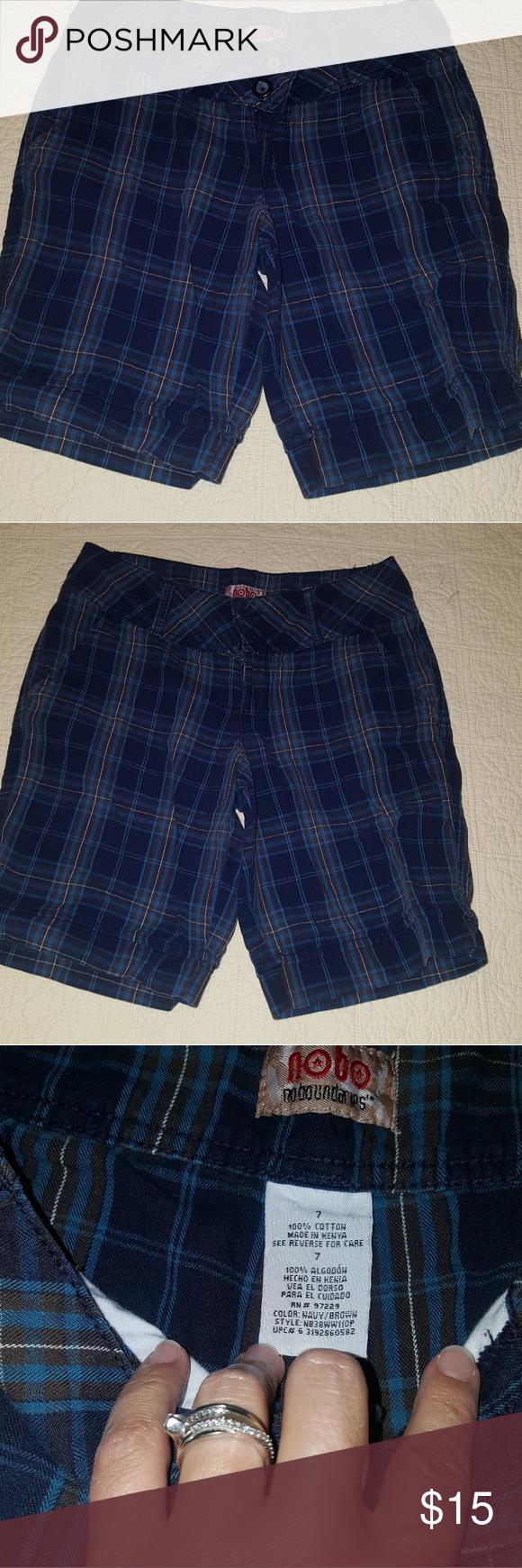 f5a56e2b77 Cute Plaid Bermuda shorts Dark blues