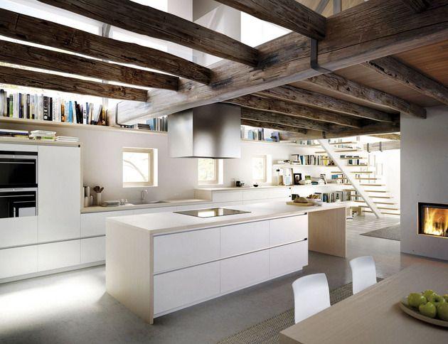 #cocina integrada en el salón, líneas rectas, elegante y funcional