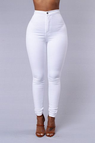 Super High Waist Denim Skinnies - White | Skinny jeans, High waist ...