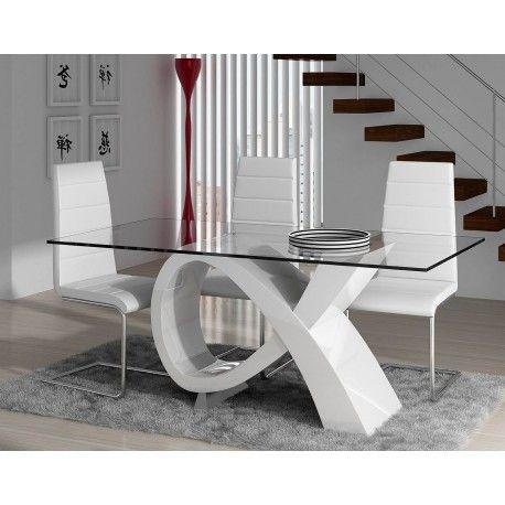 Mesa de comedor moderna con cristal color blanco mesas for Sillas de salon de diseno