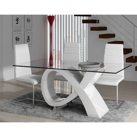 Mesa de comedor moderna con cristal, color: blanco   Mesas de ...