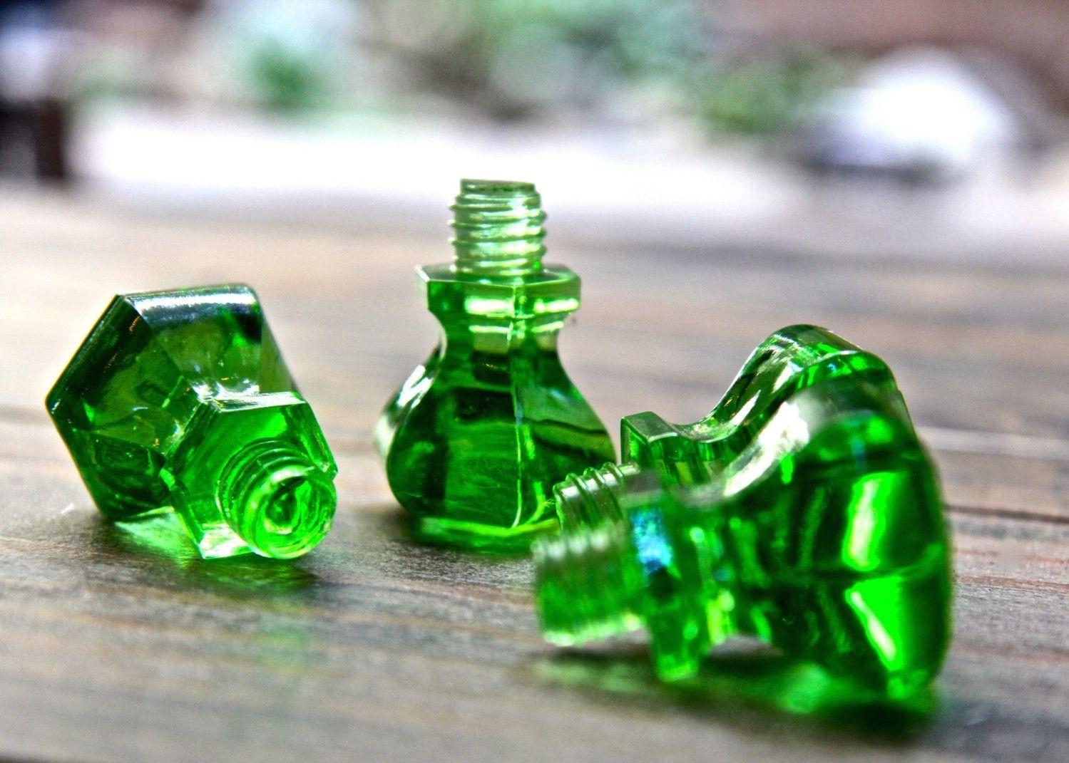 Salvaged threaded green glass hoosier cabinet door knobs or pulls ...