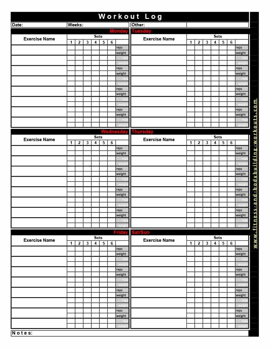 Download Workout Template 28 Workout Template Workout Log Printable Workout Log