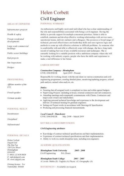 Civil Engineering Cv Resume Template - Http://Jobresumesample.Com