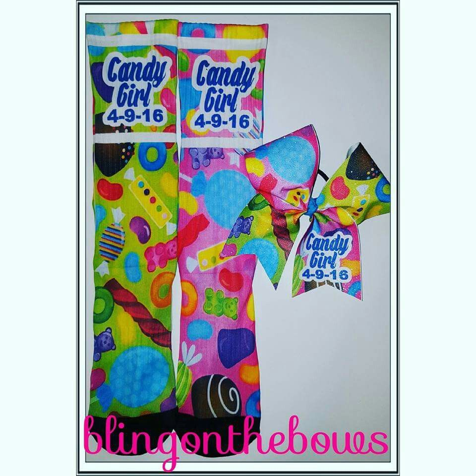Custom socks and bow sets Www.blingonthebows.com  #cheerbows #blingonthebows #cheerleader #bows #cheerleading #fiercecheerbows #cheergear #allglitterbows #teambows #customcheerbows