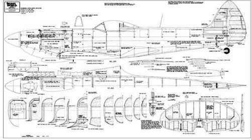 PLAN FOR MODEL SUPERMARINE SPITFIRE MK  16E | model drawings