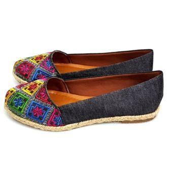d7ba2b41c Alpargata Love Shoes Bico Redondo com Bordados Jeans Preto | sapatos ...