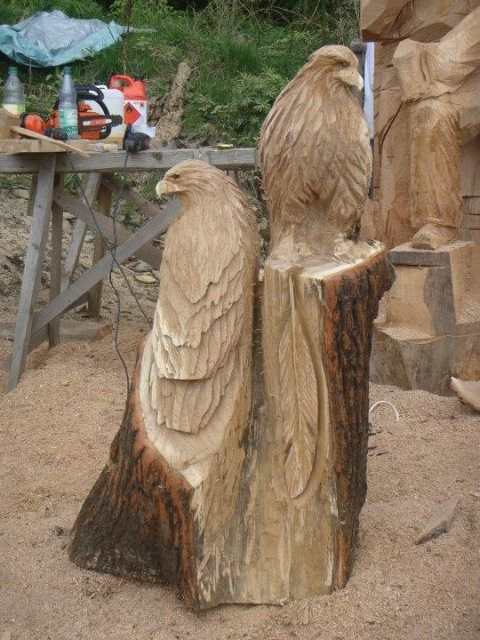 Eagle pair chainsaw carving ideas pinterest