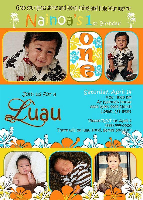 Custom Photo Card Baby Boy First Birthday LUAU 1500