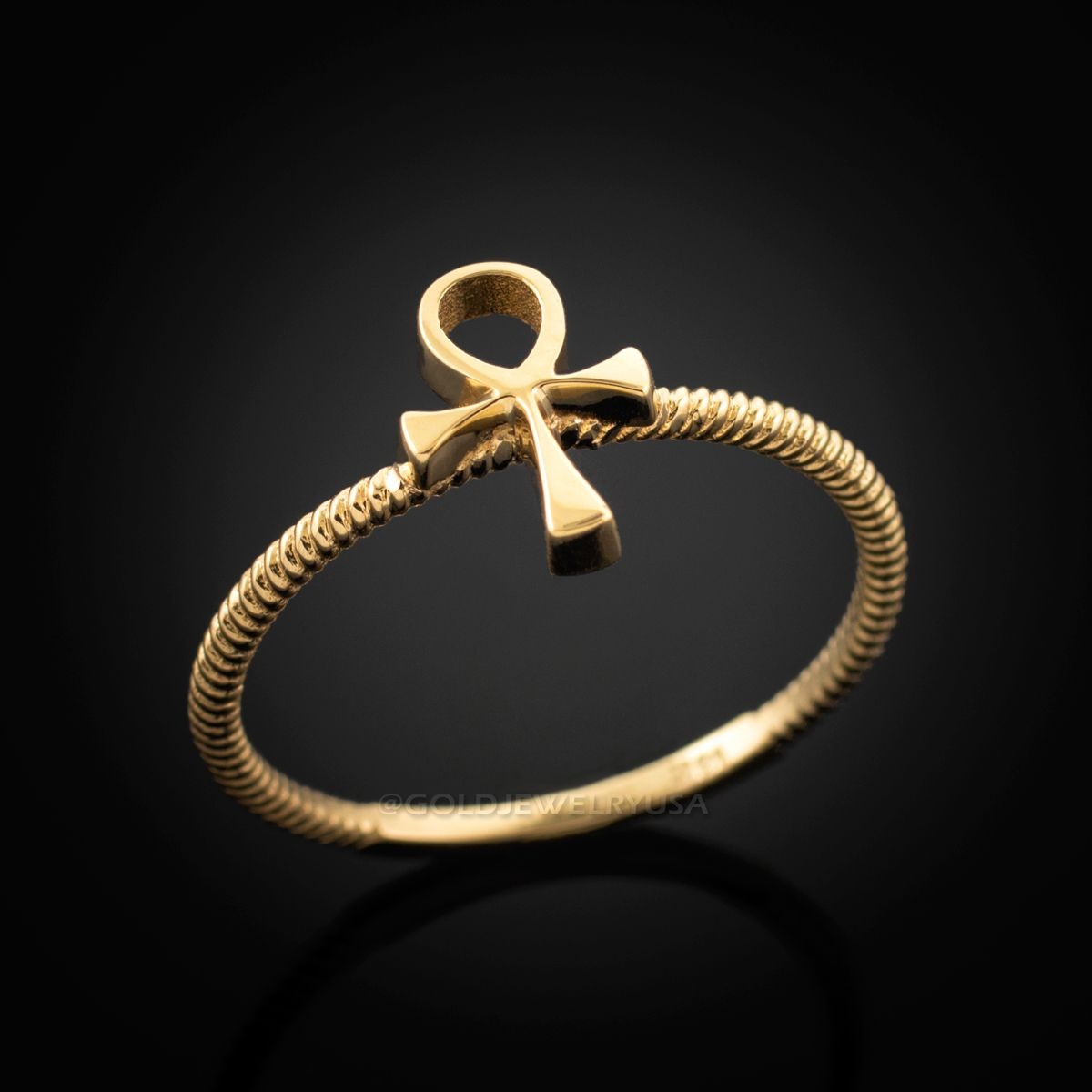 Fine Women/'s 14k Dainty Rose Gold Egyptian Ankh Cross Ring