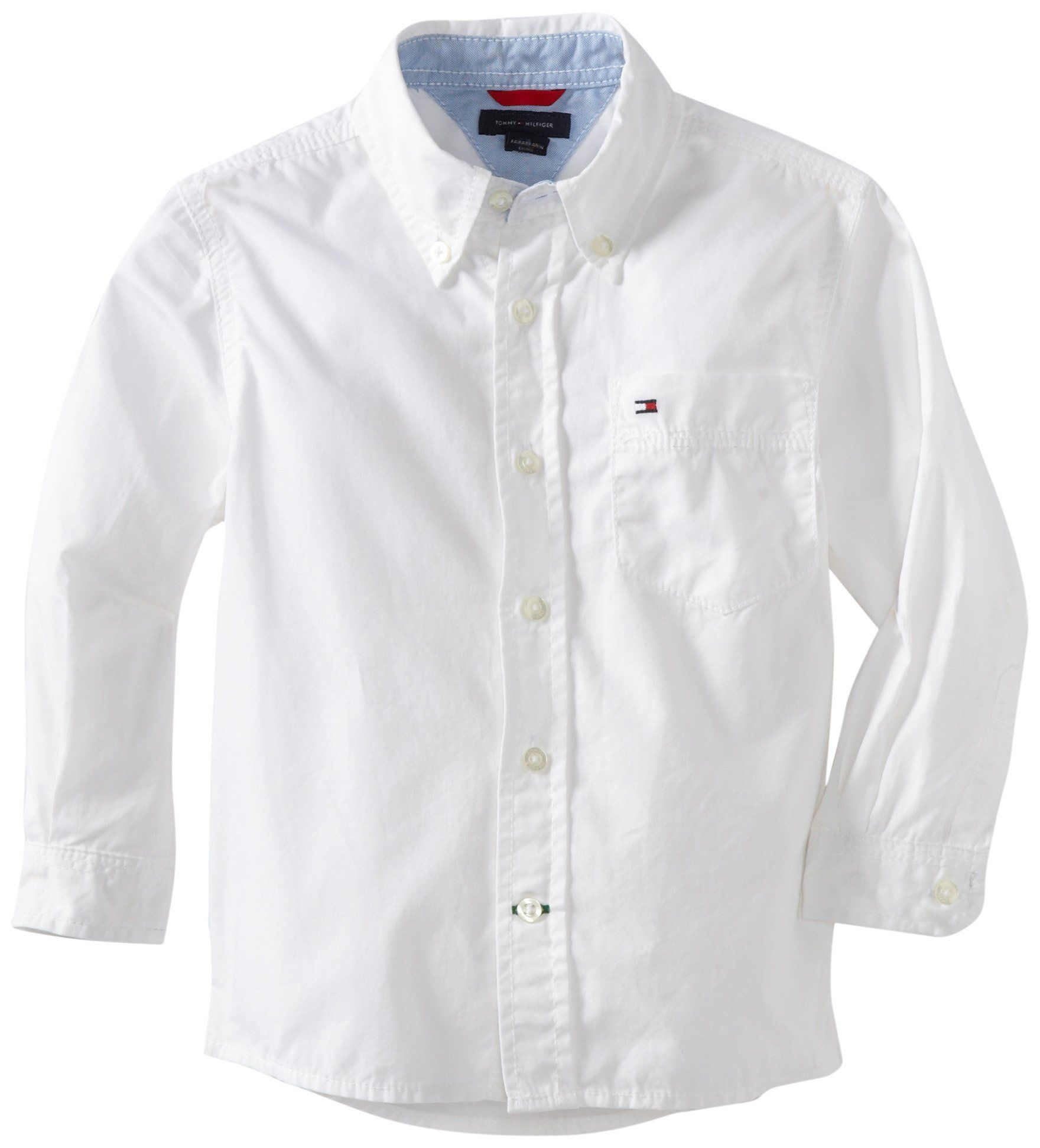 Tommy Hilfiger Big Boys' Classic Long Sleeve Woven Shirt, Classic White, Large. Button-front shirt with button-down collar featuring patch chest pocket with embroidered logo.