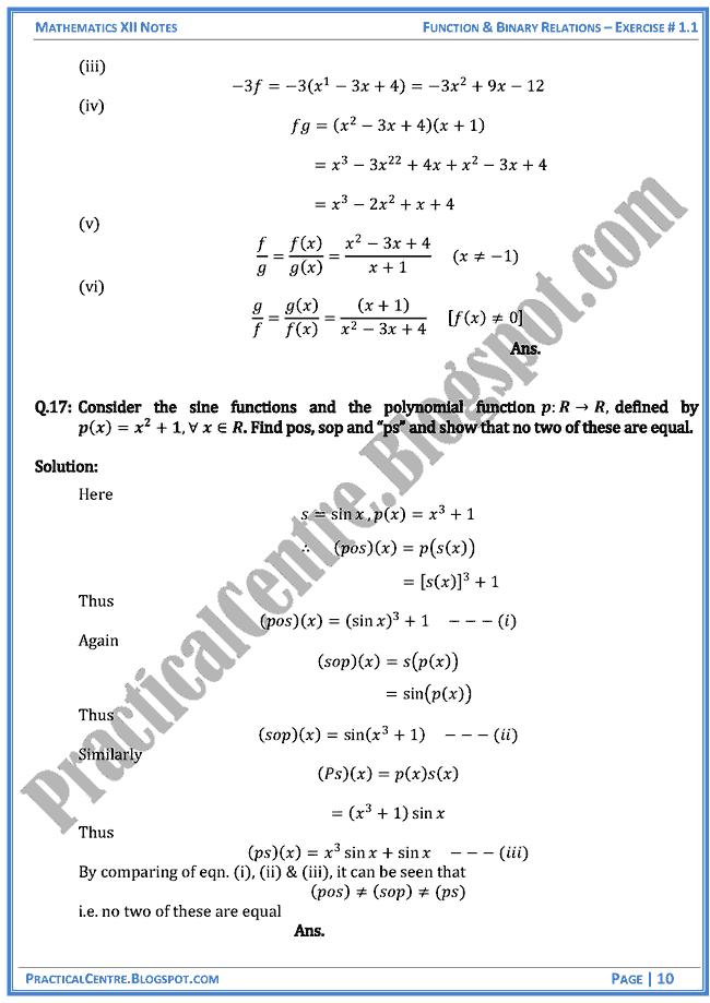 Exercise 1 1 Solved Questions Answers Function And Binary Relations Mathematics Xii Binary Relation Mathematics This Or That Questions