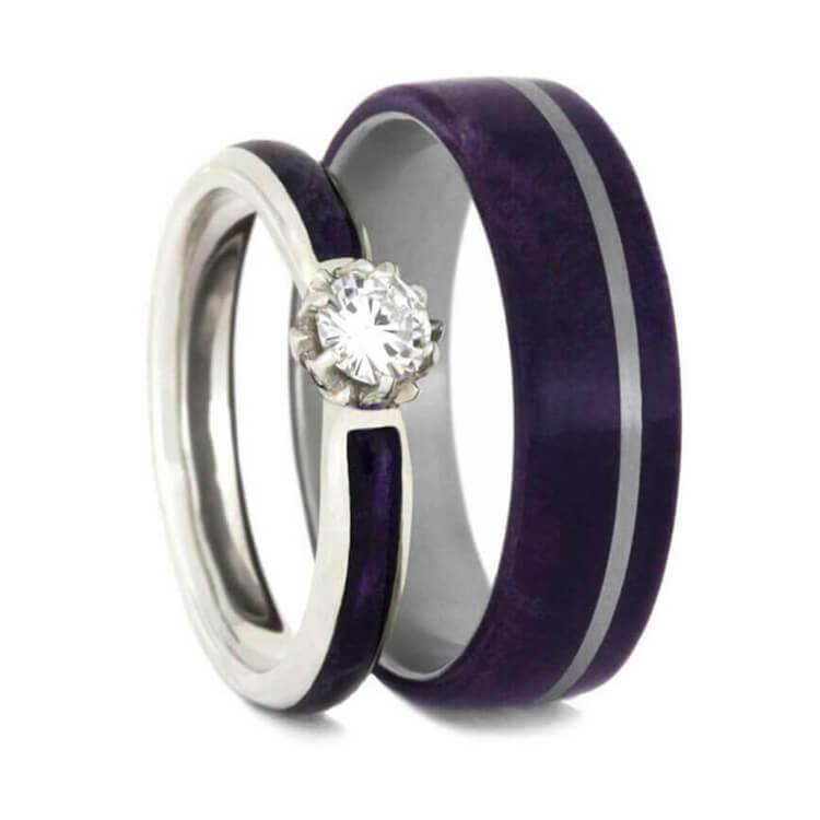 Purple Box Elder Burl Wedding Ring Set Moissanite Engagement Ring With Wood Band 2335 Purple Wedding Ring Set Purple Wedding Rings Wooden Wedding Ring
