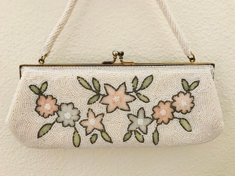 Vintage White Beaded Evening Bag Floral Design Voguemont Etsy Beaded Evening Bags Evening Bags White Vintage