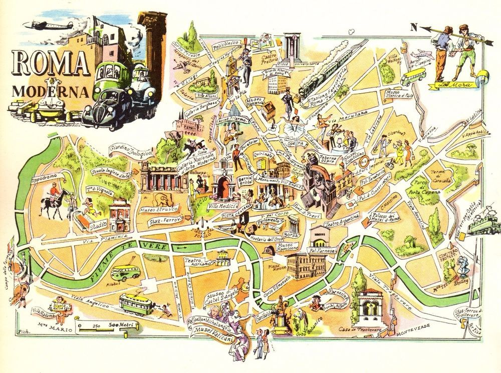 Vintage ROME ITALY Map Picture Map of ROME Pictorial Cartoon Map Fra ...