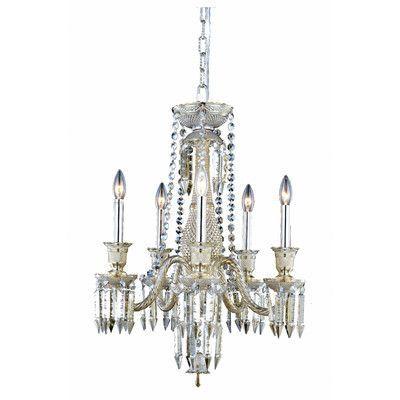 Elegant Lighting Majestic 5 Light Crystal Chandelier Finish: Golden Teak
