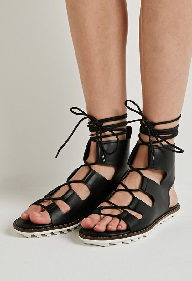 96d0a8be8b4f FOREVER 21 Faux Leather Lace-Up Gladiator Sandals