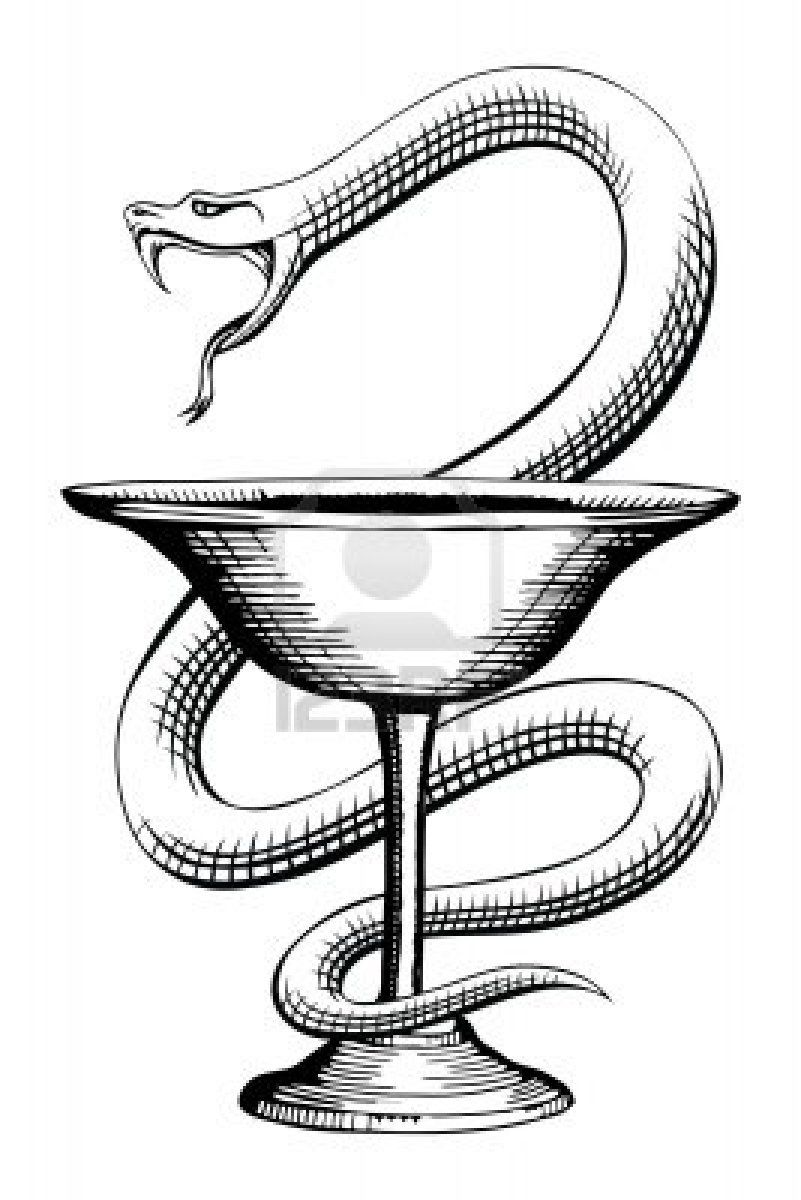 Pharmacy Snake and Cup Medical Symbol is an illustration of the