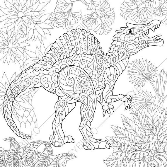 Spinosaurus Dinosaur Dino Coloring Pages Animal Coloring Book Pages For Adults Instant Download Print Dinosaur Coloring Pages Bear Coloring Pages Coloring Books