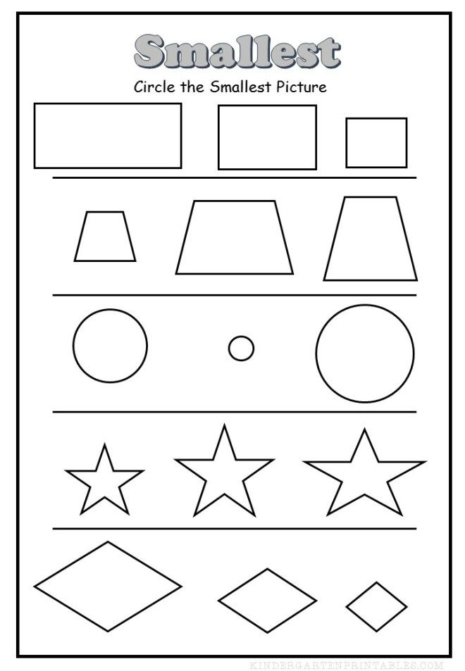 circle the smallest shape worksheet Kids Activities Pinterest - printable worksheet