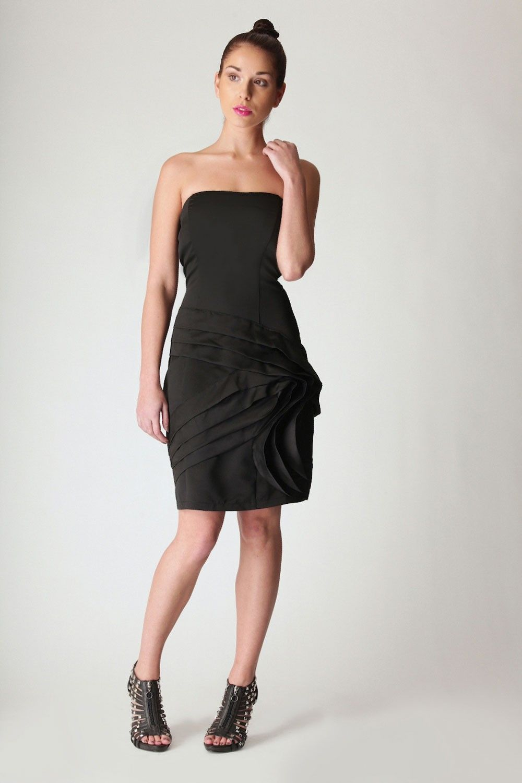 Strapless Little Black Dress With Artful Pleats Simple Cocktail Dress Lil Black Dress Black Dress [ 1500 x 1000 Pixel ]