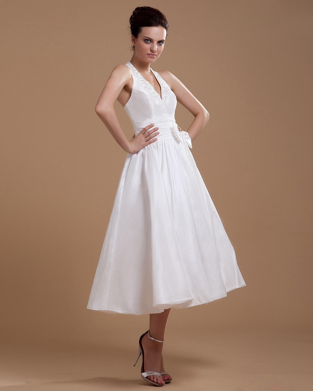 Taffeta Sash Halter Bowtie Short Bridal Gown Wedding Dress Wedding Dresses Bride Reception Dresses Fall Wedding Dresses [ 1500 x 1200 Pixel ]