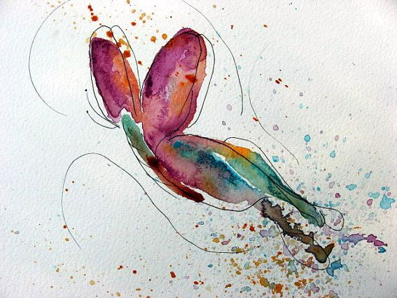 Abstract Watercolor Butterfly Art via Etsy