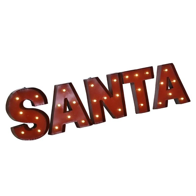 Red Metal Letters With Lights Large Red Metal 'santa' Lightup Letters Coronation Street Nicks