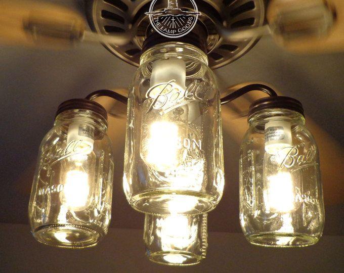 Mason Jar CEILING FAN Light KIT Only with New Quarts - Farmhouse ...