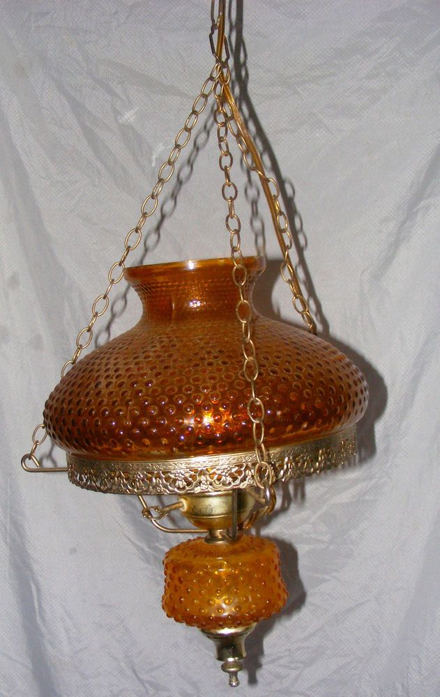 Vintage 1960's Amber Glass And Brass Swag Hanging Lamp