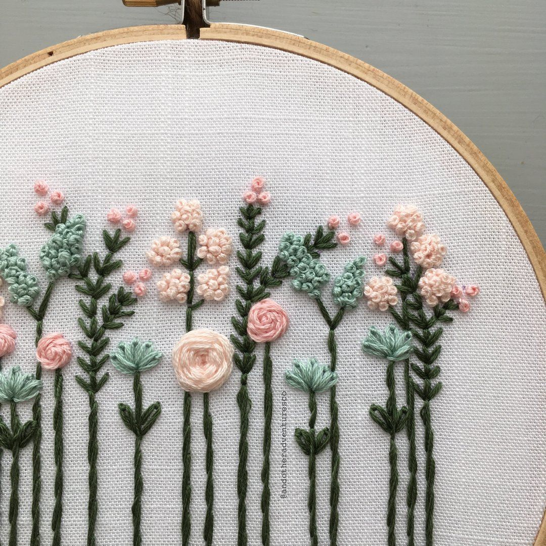 Pretty Pastel Wildflowers Hand Embroidery Pattern - Digital Download