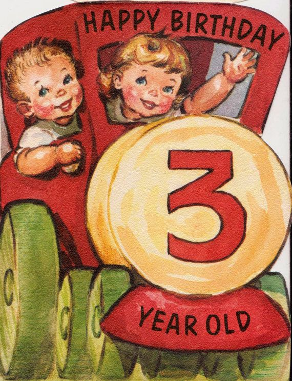 1960s Vintage Happy Birthday 3 Year Old UNUSED By Poshtottydesignz