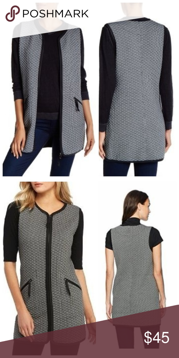 ec20c713808 NEW Max Studio Quilted Sleeveless Knit Tunic Vest NWT New With Tags  MAXSTUDIO Women's Check Quilted