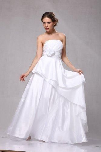 Taffeta Strapless Wedding Gown Pleated Bodice Wide Waist Band With Flower A Line Skirt Fully Lined Built In Bra