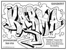 karma graffiti free printable coloring page mehr - Graffiti Coloring Pages