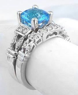 round swiss blue topaz engagement ring in 14k white gold - Blue Topaz Wedding Rings