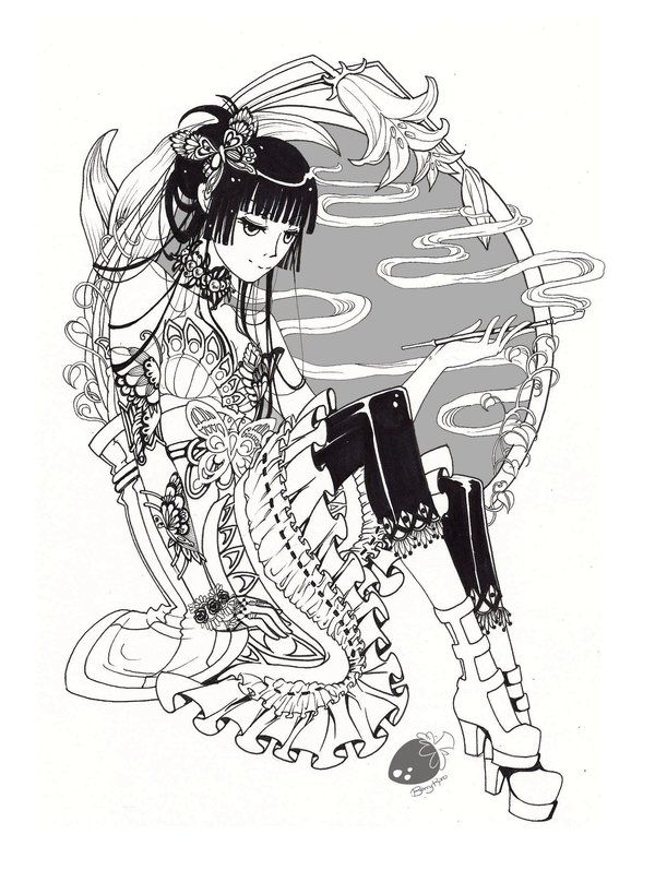 Yuko: black and white by BerryKuro Deviantart   muñecas   Pinterest ...